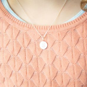 Kid's Sterling Silver Disc Pendant Personalised with Initial