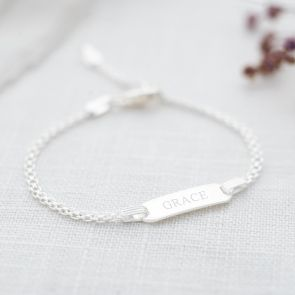 sterling silver kids bar bracelet, personalised with classic style name