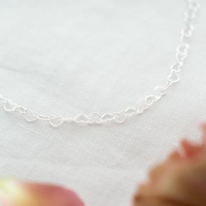 sterling silver linking heart kids necklace
