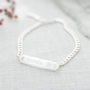 Mini Sterling Silver Star Bar Personalised Bracelet