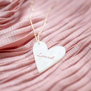 "gold Plated Sterling Silver Satellite Chain with Acrylic ""Mother Of Pearl"" Heart Personalised Necklace"