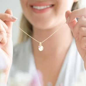 gold plated sterling silver Initial disc necklace and Swarovski crystal birthstone