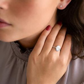 Personalised Pearl Oval ring with Initial