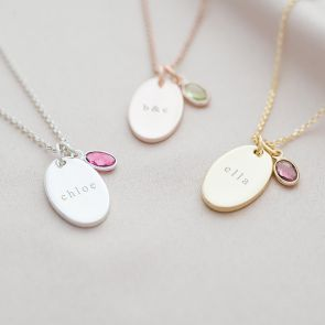 Personalised Oval Disc and Name Necklace