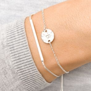 Hammered Disc Bracelet with bar slider charm personalised with hand-stamped initial