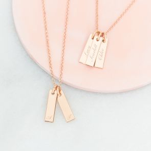 The Lola Personalised Rose Gold Bar Necklace