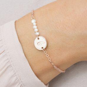 Marlee Personalised Pearl Disc Bracelet