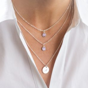 Layered Birthstone Necklace with Silver Disc Charm Personalised with Initial