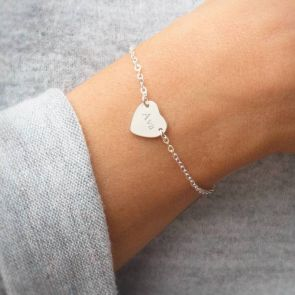 Personalised Silver Initial Heart Bracelet