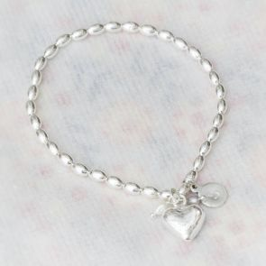 Katarina Silver Heart Personalised Bracelet with hand stamped initial charm
