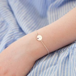 Mini Dotty Initial Disc Personalised Sterling Bracelet