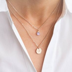 Rose Gold Layered Necklace With Birthstone and Handstamped Hammered Disc Charm