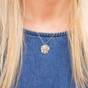 Gold Plated Leaf Pendant Necklace