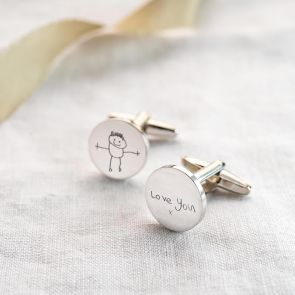 Sterling Silver Personalised Disc Cufflinks with Custom Handwriting / Drawing Personalisation