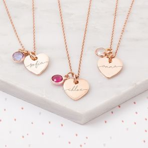 Mini Esme Sterling Silver Heart Personalised Child's Name Necklace