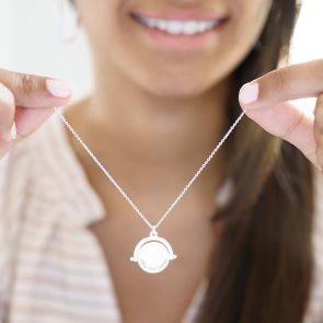 spinner message necklace available in silver, rose gold and gold plated