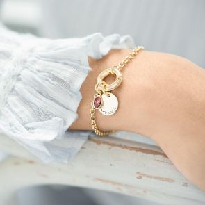 Donut Clasp Bracelet with Message Disc and Oval birthstone