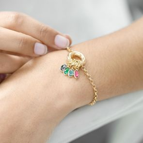 Donut Clasp Bracelet with family Birthstones