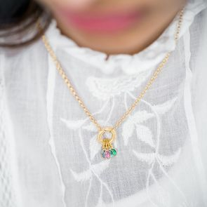 Oval Birthstone Necklace with Donut Clasp