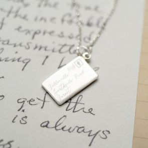 Sterling Silver Letter Style Pendant Necklace Personalised with a chosen address