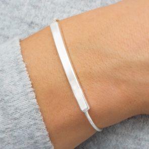 Silver Skinny Bar Personalised Bracelet
