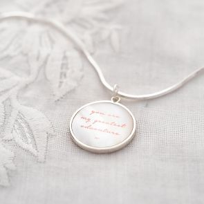 Personalised Message Pearl Pendant on Slider Chain