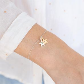 Silver and Gold Birthstone Star Charm Bracelet