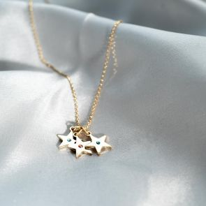 Birthstone Star Charm Personalised Necklace in Gold Plated