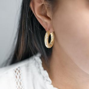 Personalised Gold Plated Chunky Hoop Earrings