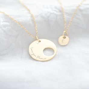 Mother Disc Necklace and Daughter Disc Necklace in Gold Plated Sterling Silver