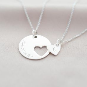 Mother And Daughter Heart Personalised Necklace