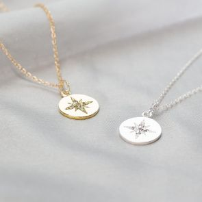 Sterling Silver and Gold Plated Sterling Silver North Star Design Necklace