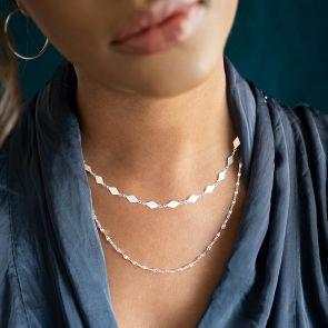 Diamond Shaped Layer Chain Statement Necklace