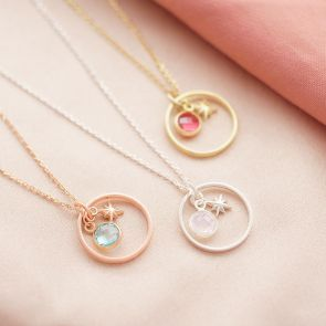 Gold PLated Sterling Silver Halo and Birthstone Charm and Star Charm Necklace