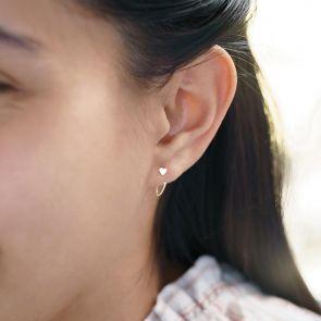 pull through heart hoop earrings