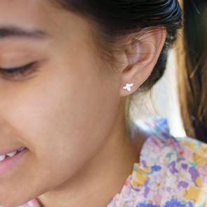 sterling silver honey bee stud earrings