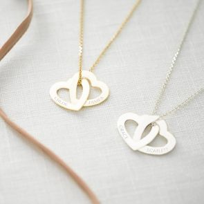 Eternity Interlocking Heart Necklace Personalised with two Names