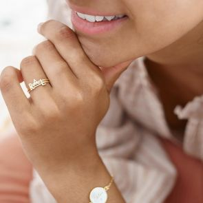 gold plated sterling silver initial stacking rings