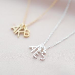 initial letter necklaces available in sterling silver and gold plated sterling silver