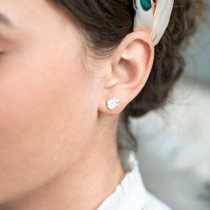 sterling silver leaf stuf earrings