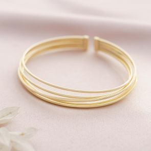 gold plated sterling silver multi-strand statement bangle