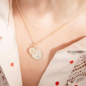 Gold Plated Sterling Silver Disc Necklace with Star Design and Initial Disc