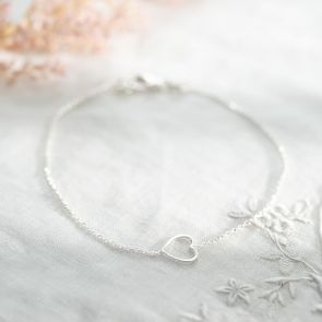 Sterling Silver Open Heart Personalised Bracelet