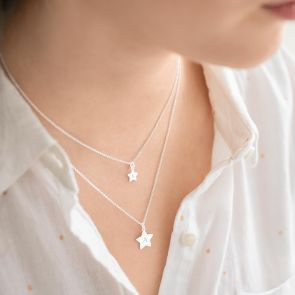 sterling silver star layer necklace personalised with chosen initials