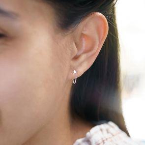 sterling silver pull through star hoop earrings