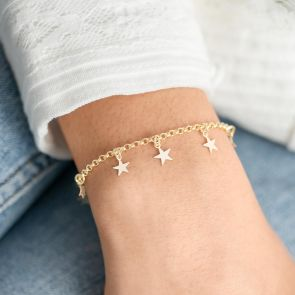 Gold Plated sterling Silver Star Slider Bracelet