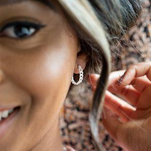 sterling silver statement hoop earrings