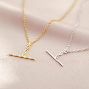 T-Bar Necklace Available in Silver and Gold