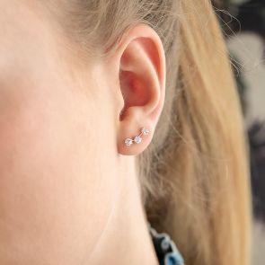 Sterling Silver Triple Crystal Climber Personalised Earrings