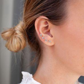 sterling silver flower climber earrings